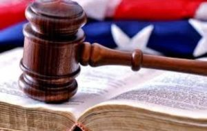 Gavel on law book.