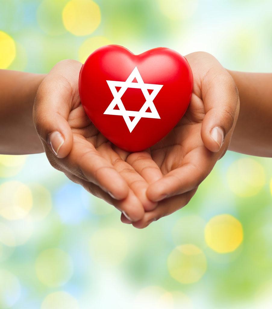 Jewish star on a heart.